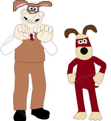 Wallace and Gromit in Phantom Theives outfits by sandowkatie