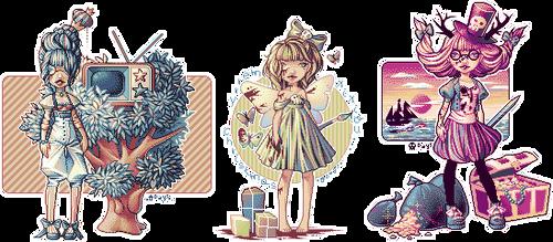 Old pixel dolls by BlueCandyCane