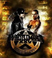 Undertaker vs HBK WM25 Poster by FBM721