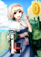 Alice Margatroid and sunflower by Ameto-Rain