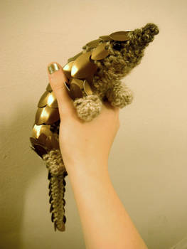 Knitted Aluminium Scaled Pangolin by CraftyMutt
