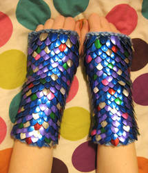 Rainbow Fish inspired Knitted Scale Gauntlets by CraftyMutt