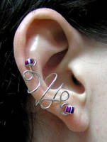 Blue and Red Ear Cuff by lavadragon