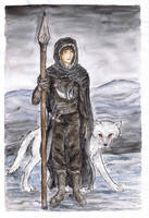 Jon and Ghost by Halwen