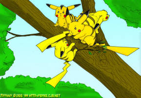 Slew of Pikachus by shivaesyke