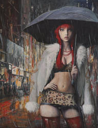 Prostitute in Paris - oil painting by borda