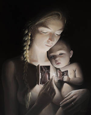 First Connection - oil painting by borda