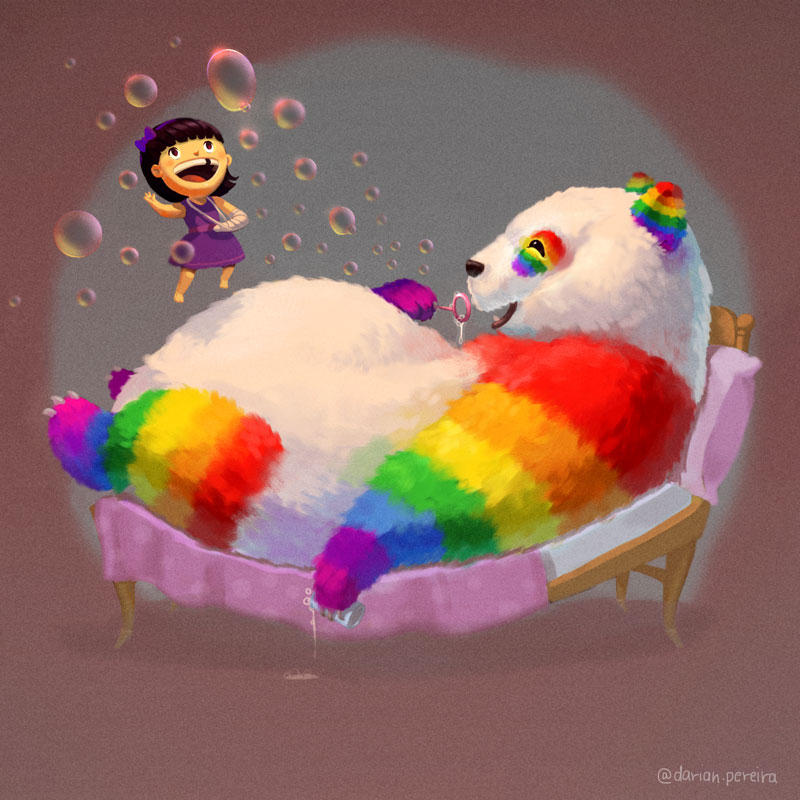 Rainbow Panda knows how to have a good time ! by dpereirart