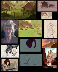 Buncha sketches 3 by JoshuaNel