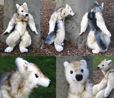 White Wolfman Plush Sculpture by Jarahamee