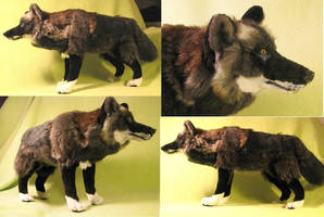 Black Timber Wolf Plush Toy by Jarahamee