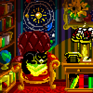 The Scholar's Room v.5 With Cat and Light by SlytherclawPadawan