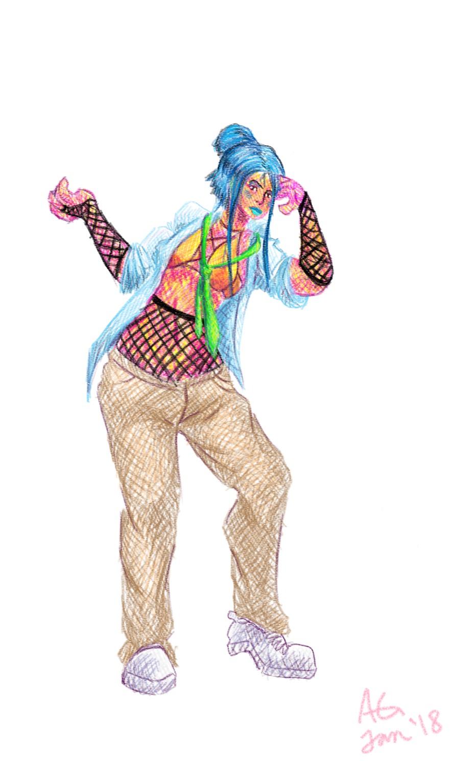 Character SketchesBlue Hair Char Design Experiment by NinjaObsessed