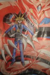 Yugioh- Yami Yugi and Slifer the Sky Dragon by Jdlove22