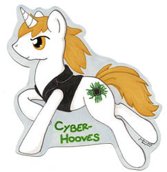 Bronycon badge for Cyber Hooves by jenkiwi
