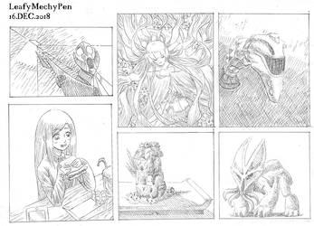Comic Panels Doodles by Leafymechypen