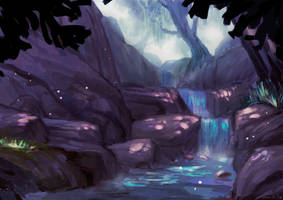 Forest waterfall by Lusilie