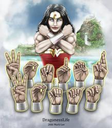 Wonder Woman Handshapes ASL by DragonessLife