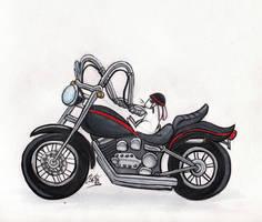 Bunny Onna Bike by cozmictwinkie