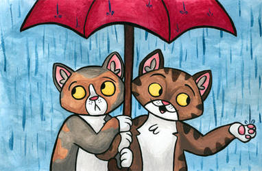 Kittens in a Rainstorm by cozmictwinkie