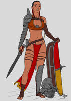 Gladiatrix - Murmillo (flat color) by Area283