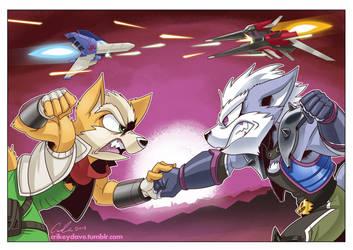 Commission: StarFox vs. StarWolf by SupaCrikeyDave