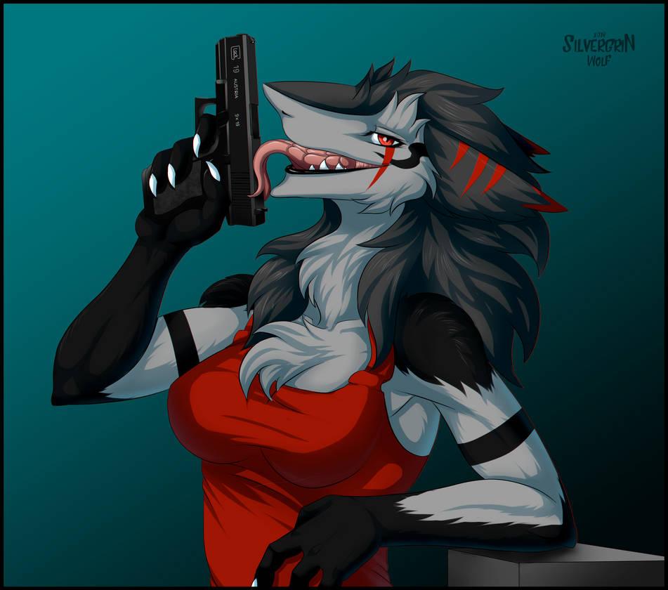 Lady with gun by SilvergriN-w