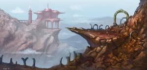 Mountain Temple by saltytowel