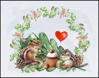 Two Little Chipmunks by saperlipop