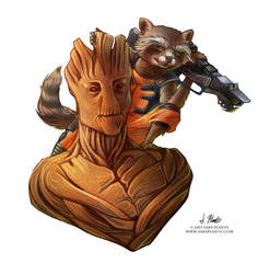 Groot and Rocket by SaraPlante
