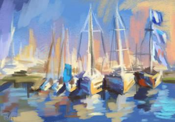 Sketch of boats in Sopot by TheAjsAx