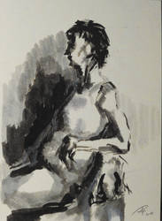 Ink sketch of my mother by TheAjsAx
