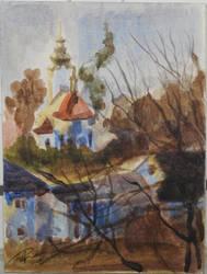 Watercolour sketch of a church in Kotorz Wielki 2 by TheAjsAx
