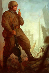 Soviet machinegunner by slipgatecentral
