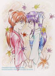 Kenshin and Kaoru by OrangeBlueCream