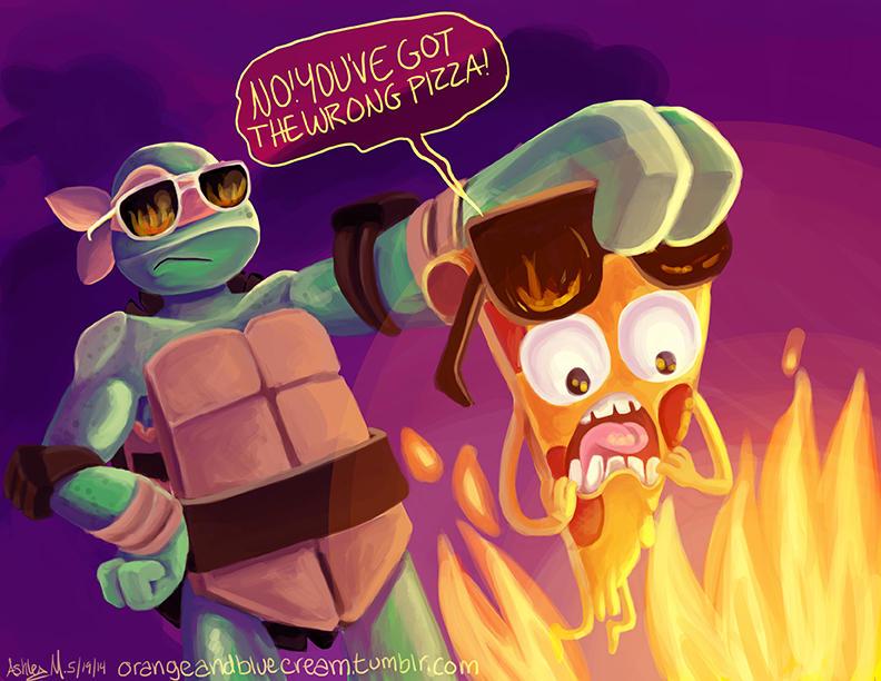 Pizza steve vs mikey by OrangeBlueCream