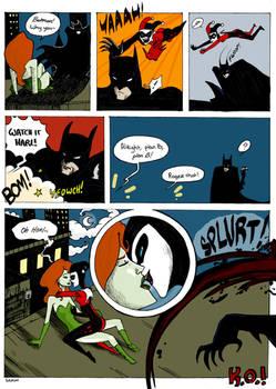Harley and Ivy vs. Batman by chlove-art