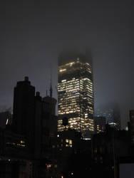 Skyscraper On A Foggy Night by PsychoGemini