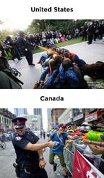 Protests: Canada vs. U.S.A by meanboss