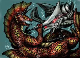Titanosaurus VS Zigra (remake) by Apocalotaurus
