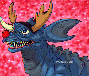 Blue Baragon - Merry Xmas! - (COMMISSION) by Apocalotaurus