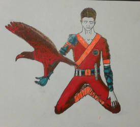 Meditating man with eagle by shyrox7