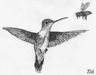 Hummingbird and Bee (tiny art) by bluehinter