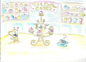 Cupcake Coffeeshop Background by Ideas-in-the-sky