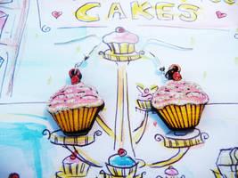 Cupcake Earrings by Ideas-in-the-sky