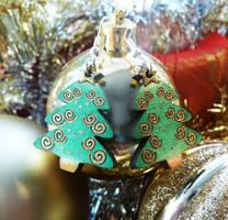 Swirly Christmas Tree Earrings by Ideas-in-the-sky