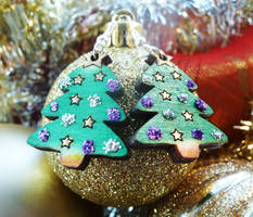 Sparkly Christmas Tree Earring by Ideas-in-the-sky