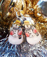 Sparkly Snowman Earrings by Ideas-in-the-sky