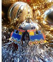Toy Train Earrings Blue by Ideas-in-the-sky