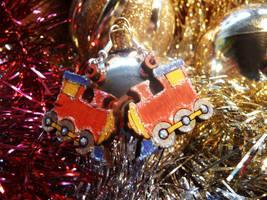 Toy Train Earrings Red by Ideas-in-the-sky